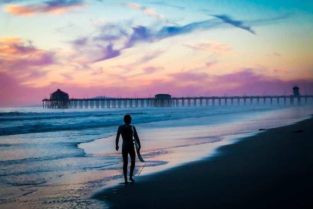 Surfer Sunset Huntington Beach Pier